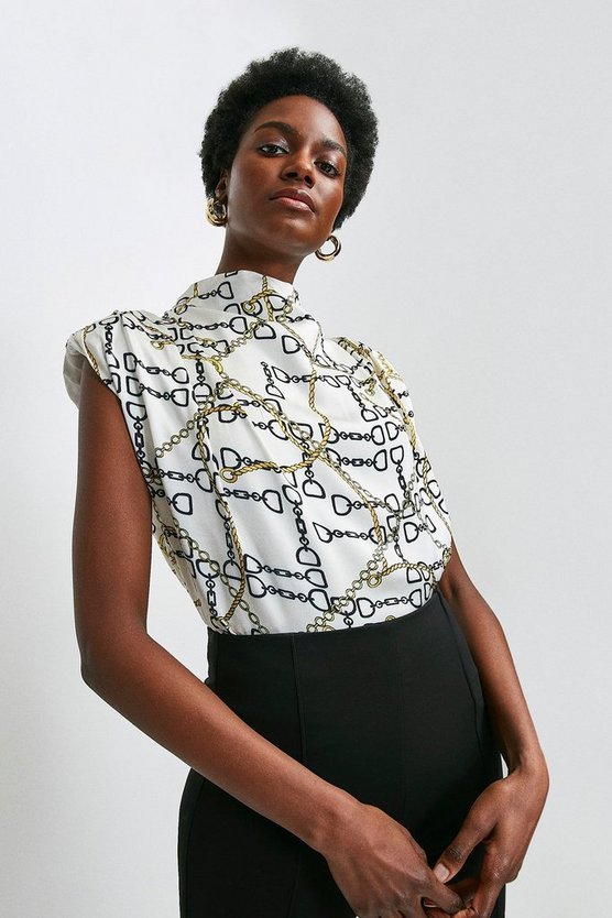 Ivory Chain Print Strong Shoulder Top