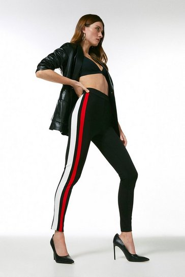 Multi Italian Structured Jersey Stripe Leggings