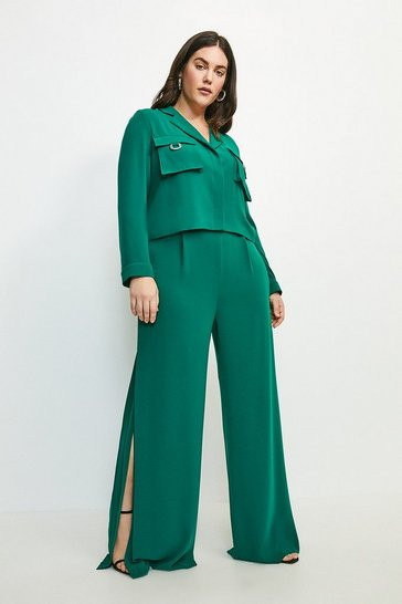 Green Curve Luxe Side Split Wide Leg Trouser