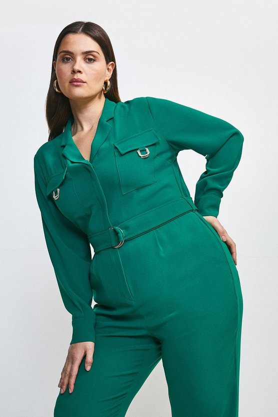 Green Curve Luxe Gold Trim Detail Jumpsuit