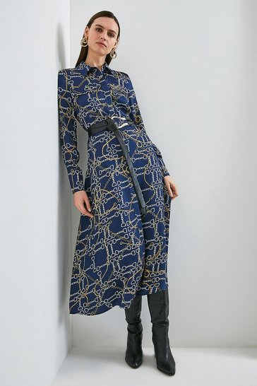 Navy Chain Print Belted Shirt Dress