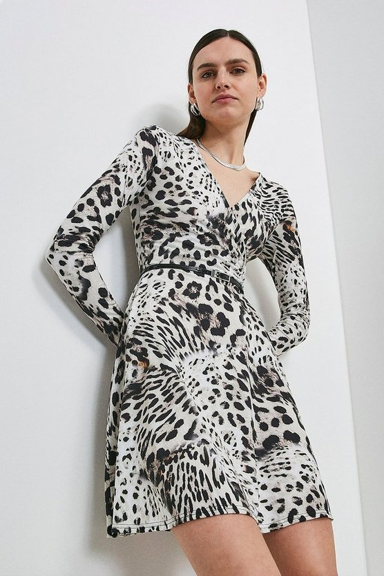 Snow Leopard Printed Jersey Belted Wrap Dress