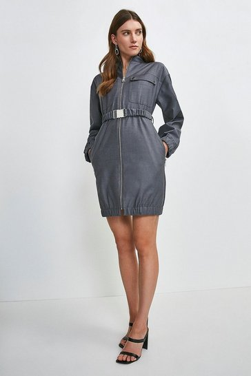 Grey Polished Stretch Wool Blend Zip Dress