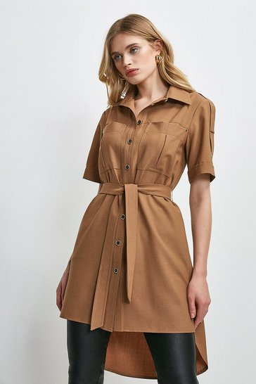 Camel Polished Stretch Wool Blend Shirt Dress