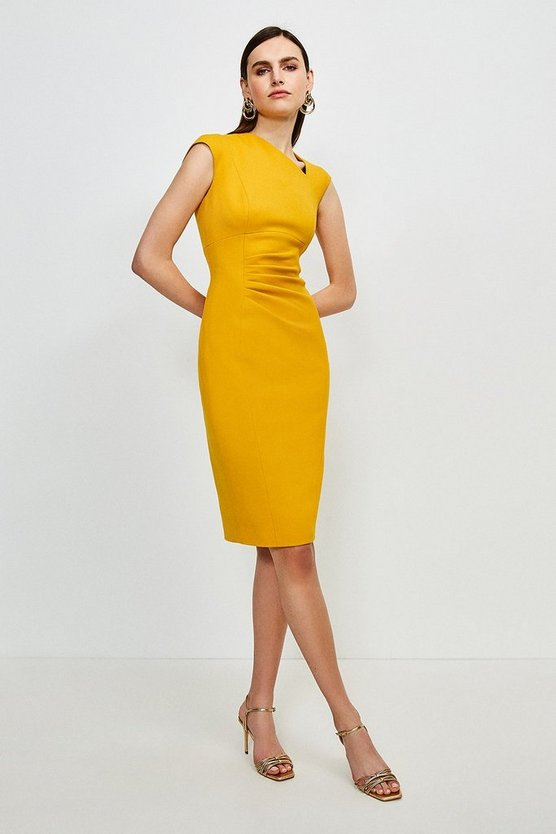 Ochre Structured Crepe Asymmetric Tuck Detail Dress