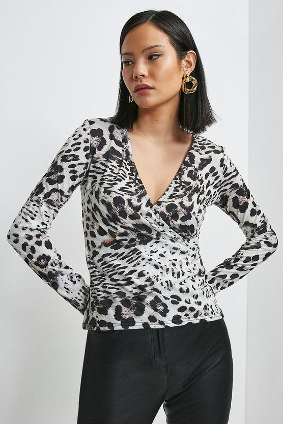 Snow Leopard Printed Jersey Wrap Top