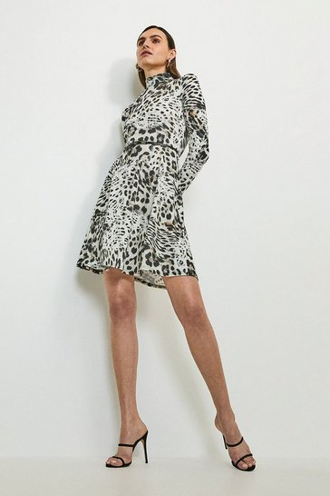 Black Snow Leopard Printed Jersey Funnel Neck Dress