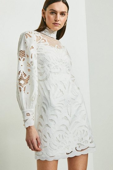 White Cutwork Volume Sleeve Dress
