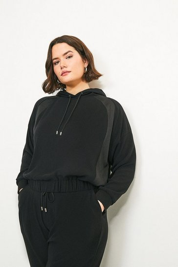Black Curve Luxe Hooded Top with Multistitch Detail