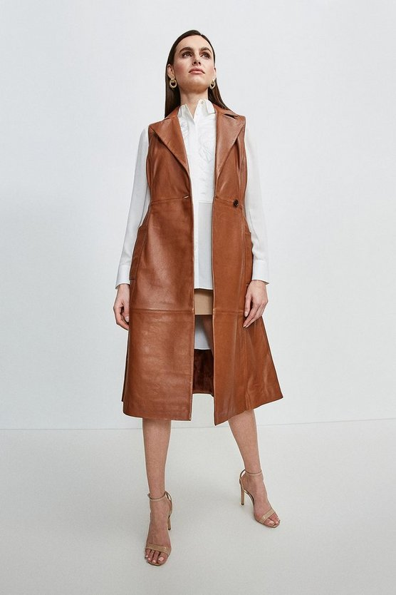 Tan Sleeveless Leather Trench