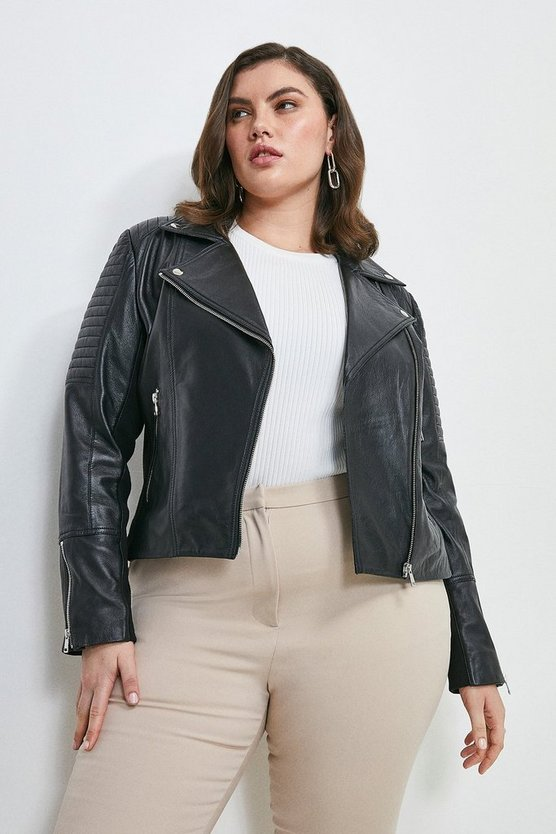 Black Curve Essential Leather Jacket