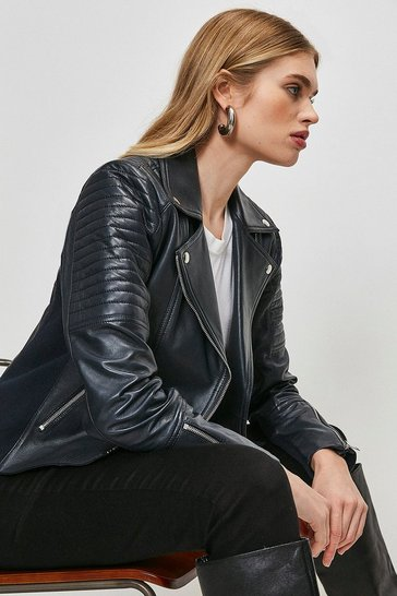 Navy Essential Leather Jacket