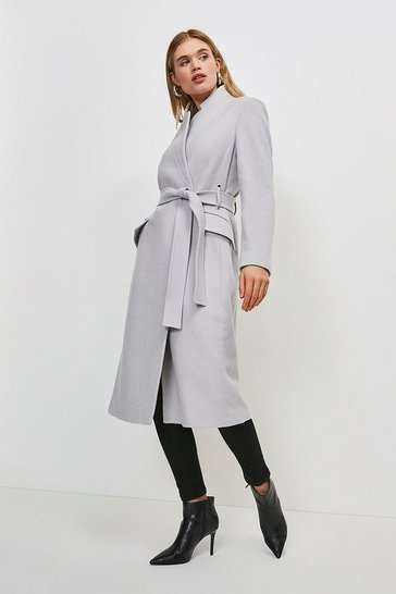 Pale grey Investment Notch Neck Wool Blend Coat
