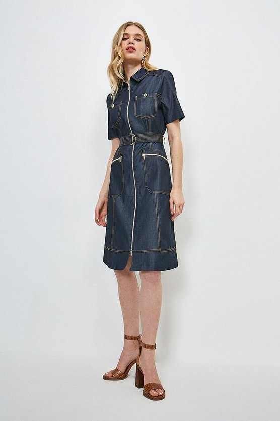 Denim-blue Tailored Denim Zip Dress