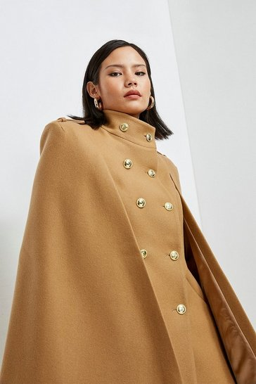 Camel Italian Wool Blend Military Cape