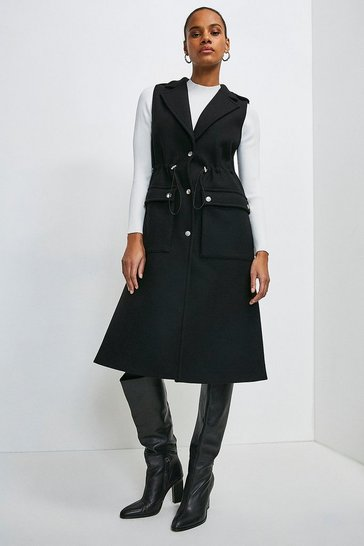 Black Italian Wool Blend Sleeveless Coat