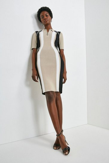 Natural Colour Block Polo Fitted Dress