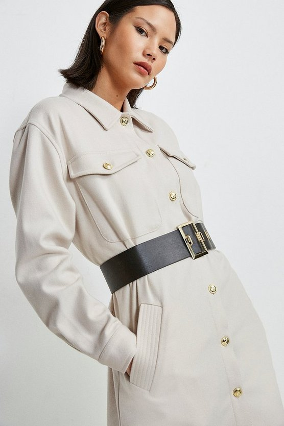 Stone Wool Blend Longline Shirt Coat