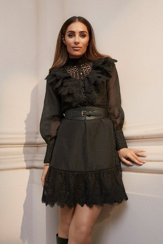 Black Broderie And Ruffle Detail Dress