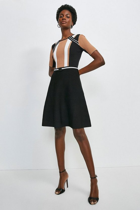 Black Colour Block Fit And Flare Dress