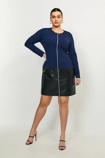 Navy Curve Faux Leather Hem Knit Dress