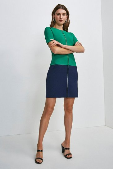 Green Short Sleeve Zip Col Block Knitted Dress