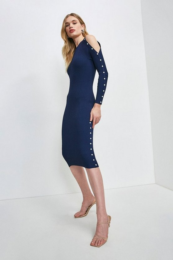 Navy Micro Button Cold Shoulder Knitted Dress