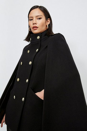 Black Italian Wool Blend Military Cape