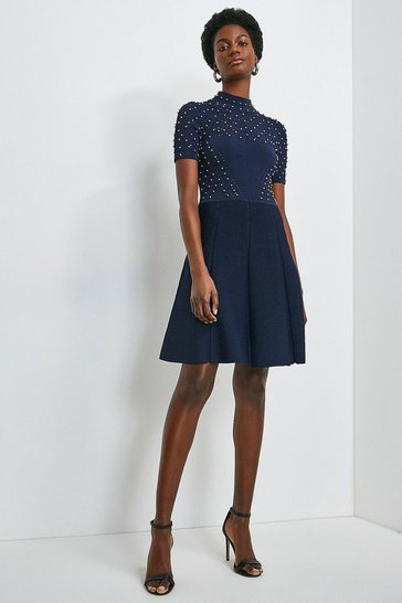 Navy Embellished Pointelle Knit Dress