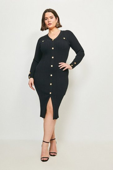 Black Curve V Neck Military Dress