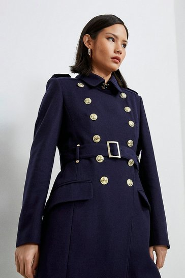 Navy Italian Longline Wool Trench Coat