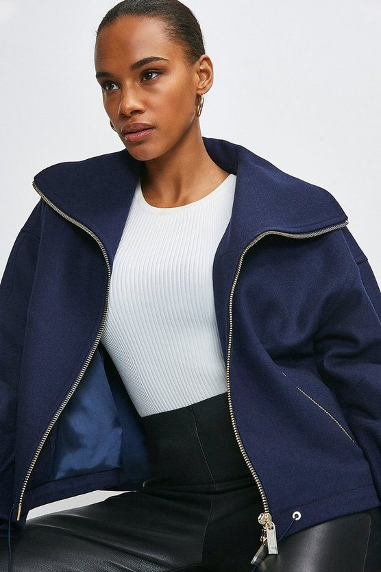 Navy Italian Wool Blend Funnel Neck Short Coat