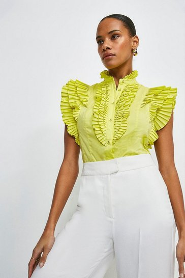 Lime Sleeveless Pleated Ruffle Blouse