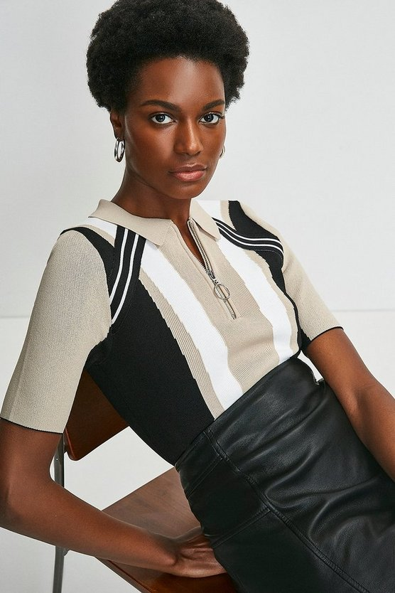 Natural Colour Block Knitted Polo Top