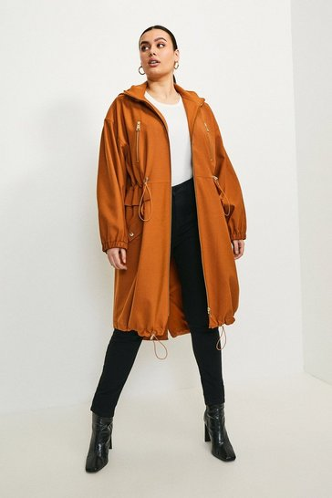 Tan Curve Polished Stretch Wool Blend Parka