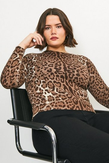 Curve Leopard Print Knitted Jumper