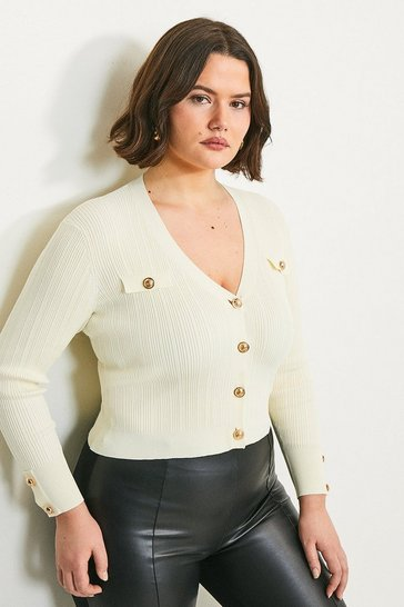 Cream Curve Military V Neck Cardigan