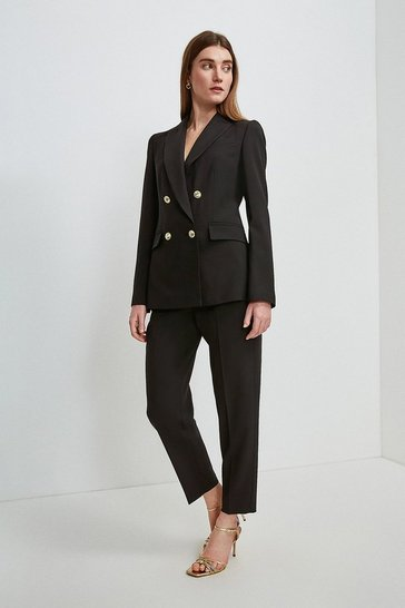 Black Polished Stretch Wool Blend Military Blazer