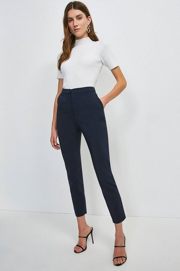 Navy Cotton Sateen Trouser