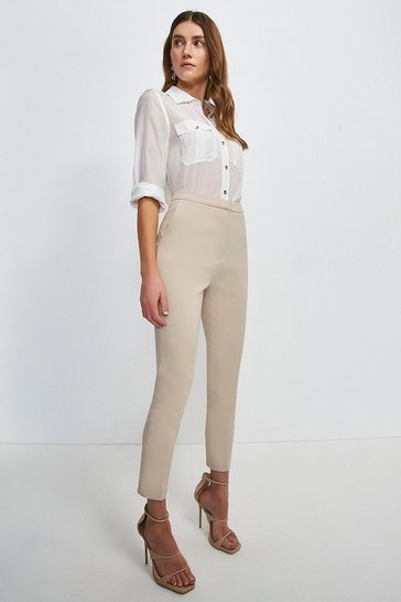 Stone Cotton Sateen Trouser