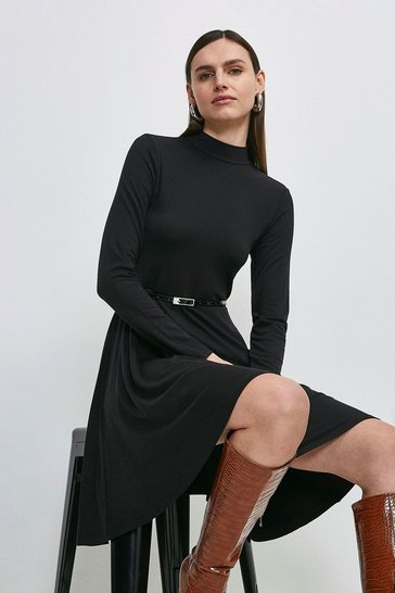 Black Viscose Jersey Long Sleeve Funnel Neck Dress