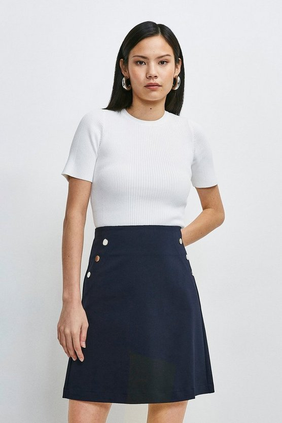 Navy Essential Techno Cotton Skirt