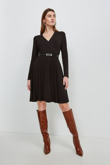 Black Viscose Jersey Long Sleeve Wrap Dress