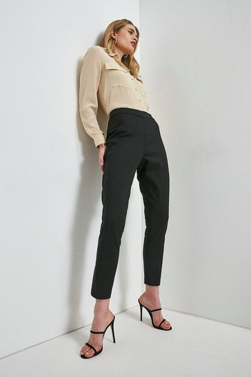 Black Essential Cotton Sateen Crop Trouser