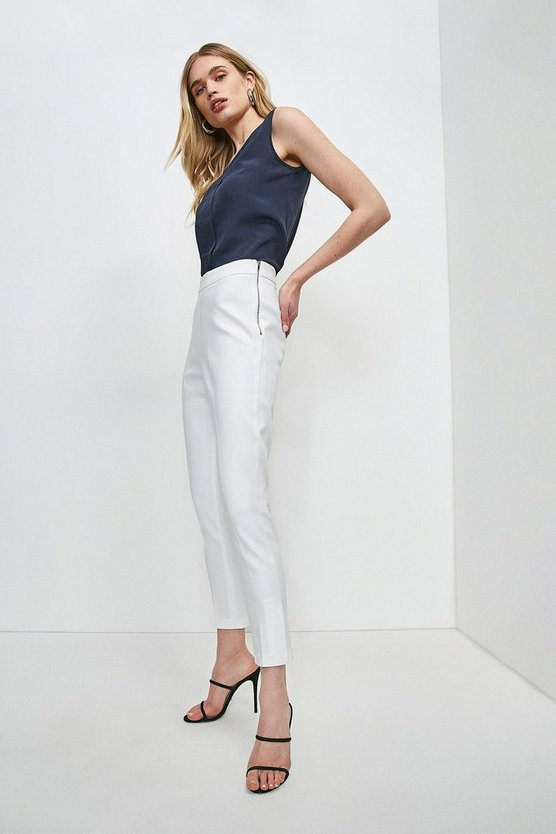 Ivory Essential Cotton Sateen Crop Trouser