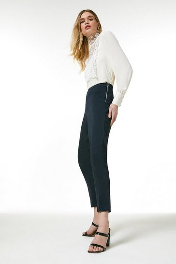 Navy Essential Cotton Sateen Crop Trouser