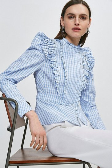 Blue Check Pleat Ruffle Button Blouse