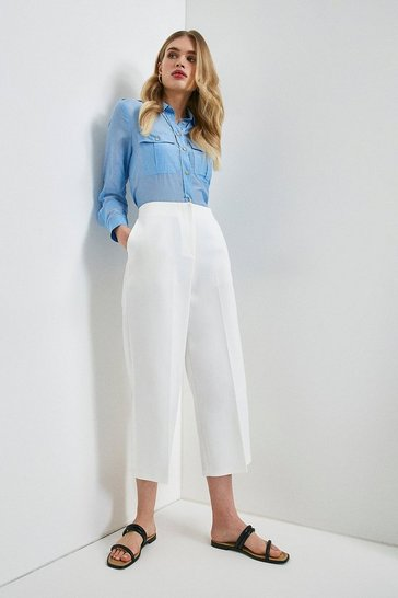 Ivory Essential Cotton Sateen Wide Leg Trouser