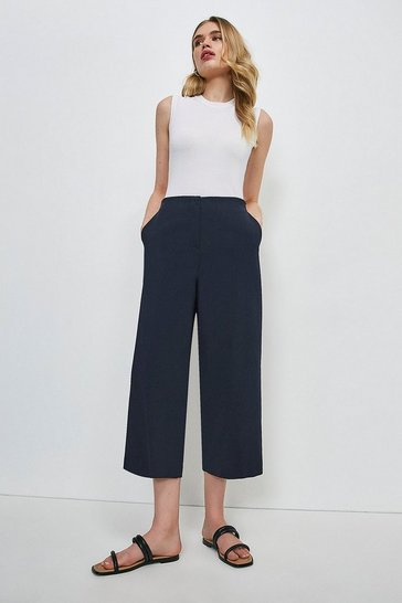 Navy Essential Techno Cotton Wide Leg Trouser