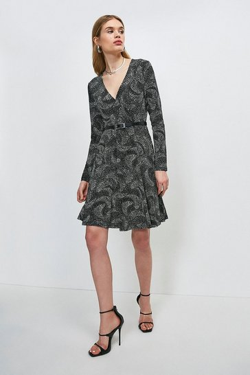 Mono Swirl Spot Printed Jersey Wrap Dress